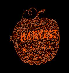 pumpkin harvest festival hand drawing lettering vector image