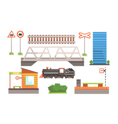 rail transport set railway station road signs vector image