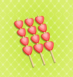 Red ripe strawberry isolated on green vector