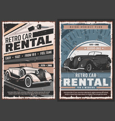 retro cars rental service posters vector image