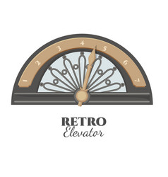 Retro elevator part that shows number of floor vector