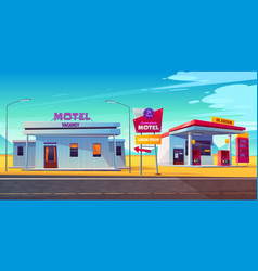 Roadside motel with car parking and oil station vector