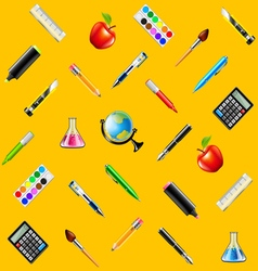School tools on yellow background seamless vector image vector image