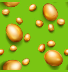 seamless pattern of golden easter eggs vector image