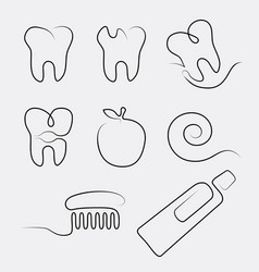 Set line icons dental care in whimsy style vector
