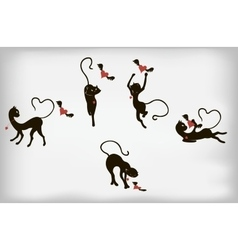 Set of black cats and hearts with wings EPS10 vector image