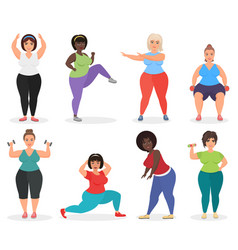 Set of cute plus size curved women doing fitness vector