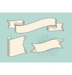 Set of old vintage ribbon banners in engraving vector image