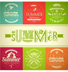 set summer vacation and holidays emblems vector image