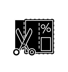 shopping coupon black icon sign on vector image