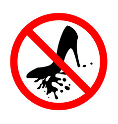 sign icon prohibiting walking in dirty street vector image