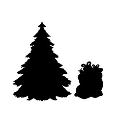 silhouette christmas trees and gifts vector image