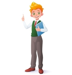 smart school boy index finger pointing up vector image