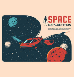 Space exploration adventure retro poster vector