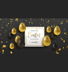 Spring easter web sale banner with gold luxury egg vector