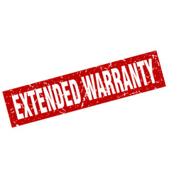 Square grunge red extended warranty stamp vector