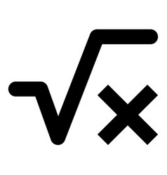 square root of x axis icon black color flat style vector image
