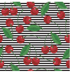 striped seamless pattern with cherry vector image