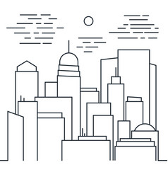 stylish modern cityscape in line art style vector image