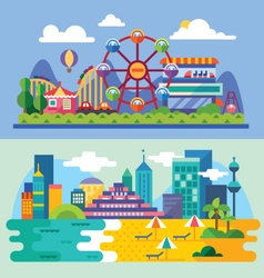 Summer city beach vector image