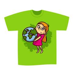 t-shirt print design girl save planet vector image
