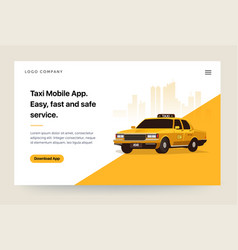 Taxi services mobile app website template retro vector