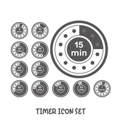 Timer icon set simple flat style vector
