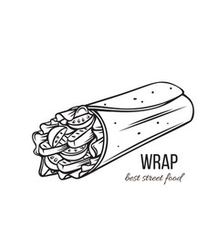Tortilla wraps outline vector