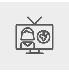 TV weather reporter thin line icon vector
