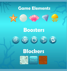 Underwater game elements boosters and blockers vector