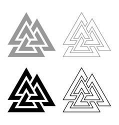 Valknut symbol icon set black color flat style vector