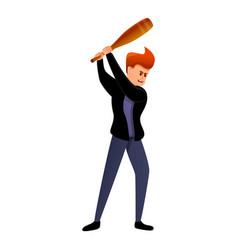 Violent man baseball bat icon cartoon style vector
