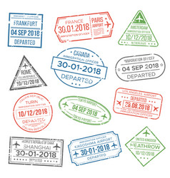Visa passport stamp for travel immigration vector