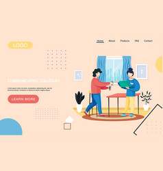 Website about communication colleagues woman vector