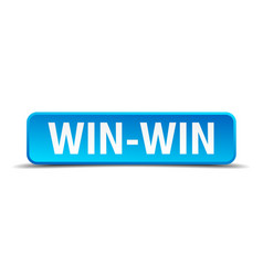win-win blue 3d realistic square isolated button vector image