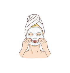 woman applying facial mask face treatment vector image