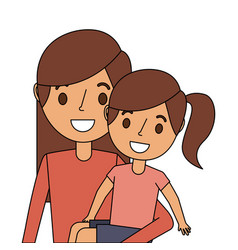 young mom carrying her daughter happy vector image