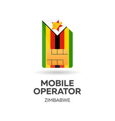 Zimbabwe mobile operator sim card with flag vector