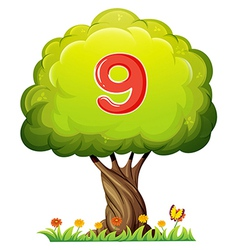 A tree with a number nine figure vector image vector image