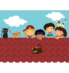 kids on roof vector image
