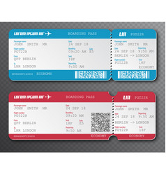 Airline boarding pass ticket tear-off element set vector