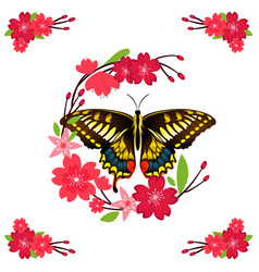 butterfly and red flower background image vector image