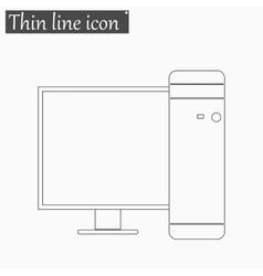 Desktop Computer icon Style thin line vector image