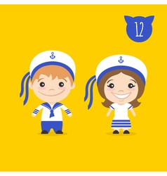 two happy cute kids characters Boy and girl in vector image vector image