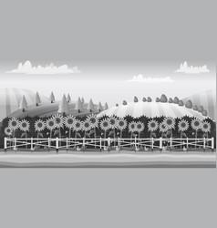 farm landscape black and white for vector image