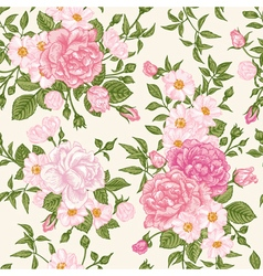 Romantic seamless pattern with pink roses vector image vector image