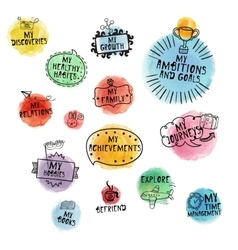 Set of hand-drawn icons for time managment with vector image vector image