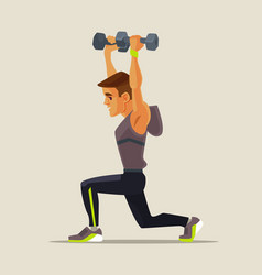 strong sport man character doing lifting exercises vector image