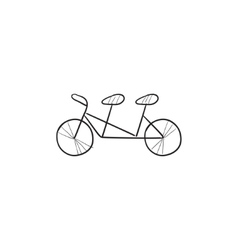 Tandem bike sketch icon vector image vector image