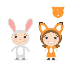 two happy cute kids characters Boy in rabbit or vector image vector image